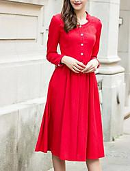 Queda literária chinês vermelho vestido de linho de mangas compridas colocar em um grande single-breasted vestido de uma peça senhora