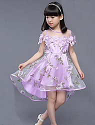 Girl's Going out Casual/Daily Holiday Solid Floral Dress,Cotton Polyester Summer Short Sleeve