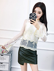 Sign 2017 new ladies fashion sweet gauze blouse embroidered perspective send Sling