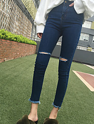 Sign knee burr hole jeans beggar woman pantyhose Slim stretch pants feet cattle