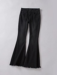 Women's Low Rise Micro-elastic Jeans Pants,Simple Bootcut Solid