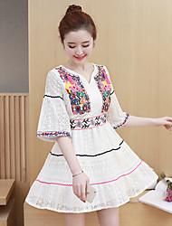 Sinal 2017 primavera novo bordado retro vento nacional uma versão coreana do vestido de renda doce mulheres de grande porte