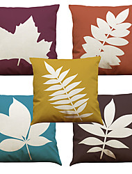 Set of 5 Leaf Pattern  Linen Pillowcase Sofa Home Decor Cushion Cover (18*18inch)