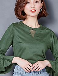 2017 printemps manches longues t-shirt modèles féminins mode rétro suède corne chemise manches sauvage fondant