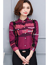 Female long-sleeved plaid shirt collar and long sections Slim thin 2017 spring new Korean students blouse shirt