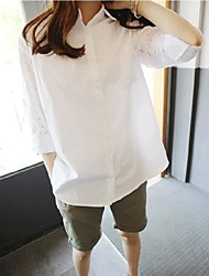 New large size women long sleeve sweet temperament bat sleeve hollow loose white shirt embroidered blouse