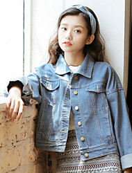 Sign Korean small fresh short denim jacket coat jacket College Wind
