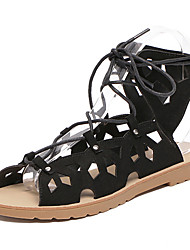 Women's Sandals Summer Gladiator PU Casual Flat Heel Lace-up