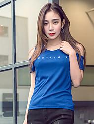 Sinal esticar cultivar de manga curta t-shirt sem alças letras azuis impresso de manga curta t-shirt bottoming camisa