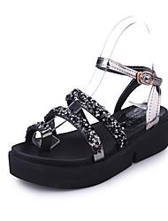 Women's Sandals Gladiator PU Spring Summer Casual Dress Gladiator Buckle Flat Heel Black Sliver 2in-2 3/4in
