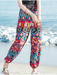 Feminino Boho Cintura Alta Micro-Elástico Chinos Calças,Solto Estampado