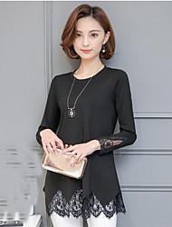 XL Segno 2017 donne della molla nuove coreano lungo tratto a maniche lunghe di pizzo cuciture basa camicia femminile girocollo