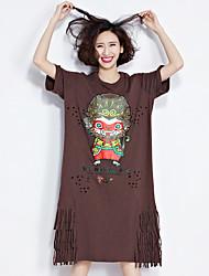 tiro real t-shirt de manga curta feminina longa seção solta do verão na Europa e América franjas pescoço t-shirt buraco redondo impressão