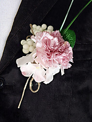 Wedding Flowers Free-form Roses Peonies Boutonnieres Wedding Party/ Evening Burgundy / Pink / Purple Satin
