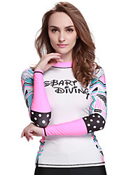 Women's Wetsuit Skin Breathable Ultraviolet Resistant Comfortable Sunscreen Elastane Terylene Diving Suit Long Sleeve Tops-Swimming