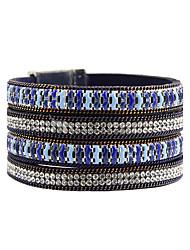 mulheres moda strass pulseira de couro esmalte