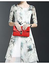 2017 Primavera nova feminina senhoras retro moda quinta manga slim colocar em um vestido de impressão grande