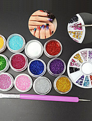 Manicure Set 12 Color Fine Glitter  2 Way Nail Brush Dotting Tool  1.5mm Rhinestones Wheel Container Nail Art DIY Kit