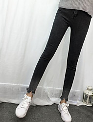 Women's High Rise Stretchy Jeans Pants,Simple Slim Solid
