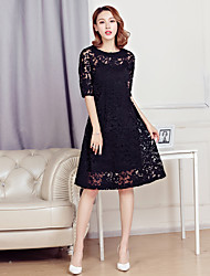 Sign 2017 Spring new round neck width Song Leisi embroidery long section of large size dress A dress simple