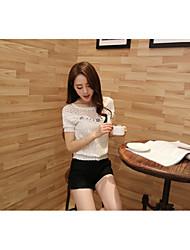 подлинные новых летних корейских женщины короткого пункта шифона рубашка женщина с короткими рукавами рубашки небольшой рубашка кружево