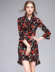Feminino Bainha Vestido,Para Noite Casual Férias Simples Fofo Moda de Rua Floral Colarinho Chinês Acima do Joelho Manga ¾ Poliéster