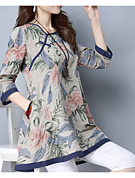Women's Going out Casual/Daily Chinoiserie Shirt Dress,Floral Round Neck Maxi ¾ Sleeve Silk Spring Summer Low Rise Micro-elastic Medium