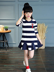 Girl's Casual/Daily Striped Dress,Cotton All Seasons ¾ Sleeve