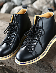 Men's Oxfords Light Up Shoes Cowboy / Western Boots Leather Spring Athletic Casual Outdoor Office & Career Walking Buckle Low HeelBlack