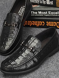 Men's Loafers & Slip-Ons Spring Fall Moccasin Nappa Leather Office & Career Casual Low Heel Black