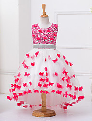 Ball Gown Asymmetrical Flower Girl Dress - Cotton Sleeveless Jewel Neck with Beading by YDN