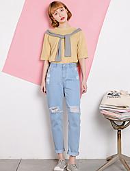 Реальный выстрел chicgirl tide личности колледж ветер свежий нищета отверстие носили свободные прямые джинсы