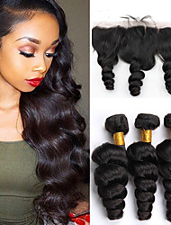 Vinsteen Hot Selling Hair Products Indian Human Hair Weaving Loose Wave with 13X4 Lace Frontal Closure Natural Black Color Weaving Hair factory Price