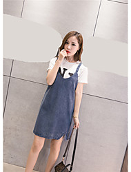 Sign denim strap dress