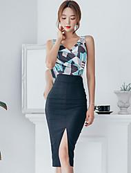 2016 été nouvelle mode coréenne sexy tempérament slim v-neck t-shirt deux pièces jupe forfait