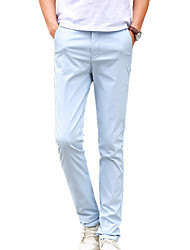Men's Slim Chinos PantsCasual/Daily Simple Solid Mid Rise Button Cotton Polyester Micro-elastic Spring Summer HY-1706