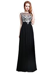 Formal Evening Dress Sheath / Column Jewel Floor-length Chiffon with Beading