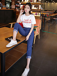 Sign in spring 2017 Korean version of the elastic waist jeans pantyhose female Wide Song Halun