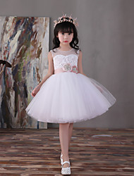 Ball Gown Knee-length Flower Girl Dress - Lace Satin Tulle Sleeveless V-neck with Flower(s)