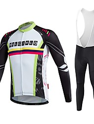 Maillot et Cuissard Long à Bretelles de Cyclisme Homme Unisexe Manches Longues Vélo Vêtements de Compression/Sous maillot Collants