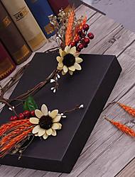 Tecido de linho chapa-casamento ocasião especial casuais coroa de flores ao ar livre pino de cabelo 4 peças