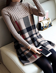 Women's Casual/Daily Simple Long Pullover,Plaid Turtleneck Long Sleeve Rayon Spring Fall Medium Micro-elastic