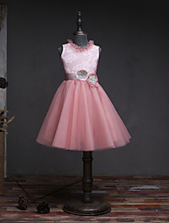 A-line Knee-length Flower Girl Dress - Lace Tulle Sleeveless Jewel with Bow(s) Flower(s) Lace