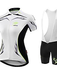 Maillot et Cuissard de Cyclisme Femme Manches Courtes Vélo Maillot Shorts Rembourrés Collant à Bretelles/Corsaire Bretelles Design