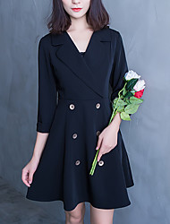 Autumn OL temperament a word V-neck jacket sleeve suit was thin waist dress female wild