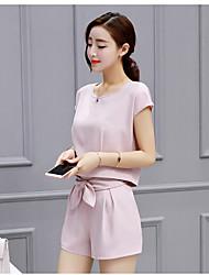 Un été de femme chemise en mousseline de soie costume shooting de mode 2017 femmes&# 39; coréen à manches courtes T-shirt chemise