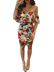Women's Ruffle Club Floral Off Shoulder Sexy Bodycon Above Knee Sleeveless Dress