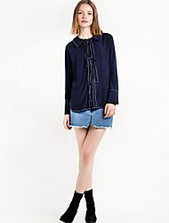 Women's Holiday Simple All Seasons Blouse,Solid Halter Long Sleeve Cotton Medium