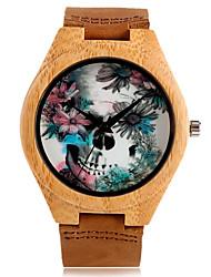 Hombre Niños Reloj Deportivo Reloj de Vestir Reloj de Moda Reloj de Pulsera Reloj Pulsera Reloj Madera Cuarzo Japonés Punk Cuero Auténtico