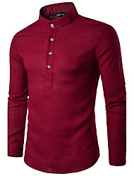 Men's Casual Fashion Ou Code Solid Color Long-Sleeved Collar Linen Shirt